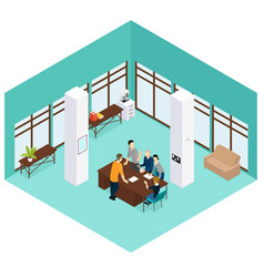 isometric people teamwork concept vector image vector image