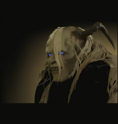 satan with blue shining eyes vector image