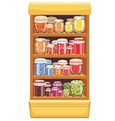 Store shelves with jam vector image vector image