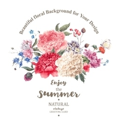 Vintage floral bouquet of peonies and vector image vector image
