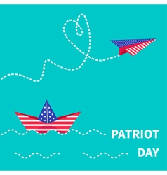 Paper boat and plane patriot Flat vector image vector image