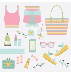 summer women fashion icon set vector image vector image