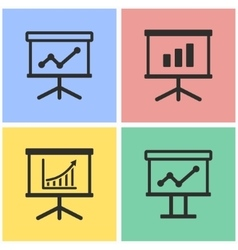 Diagram board icon set vector image vector image
