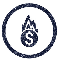 fire damage rounded grainy icon vector image vector image