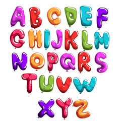 set of colorful font in form balloons children s vector image