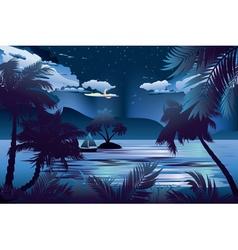 Tropical Island at Night vector image vector image
