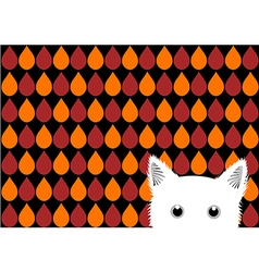 White Cat Orange Red Brown Drops Background vector image vector image