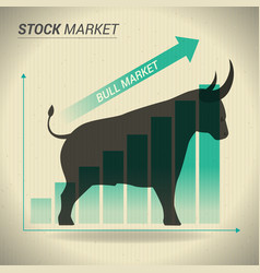 bull market concept presents stock market with vector image vector image