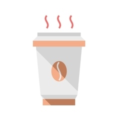 Hot coffee cup flat style vector image vector image