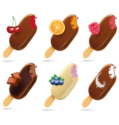 ice cream popsicles with different fruits vector image