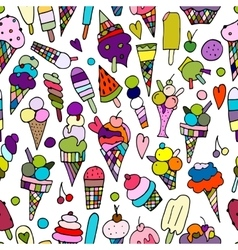 Icecream collection seamless pattern for your vector image vector image