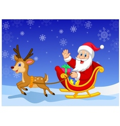 Santa in his Christmas sled being pulled by reinde vector image vector image