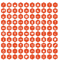 100 human health icons hexagon orange vector