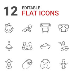 12 toddler icons vector