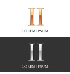 2 II Luxury Gold and Silver Roman numerals sign vector