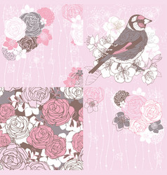 4 cards with tea roses vector
