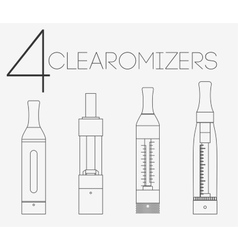 4 thin lines clearomizers set vector
