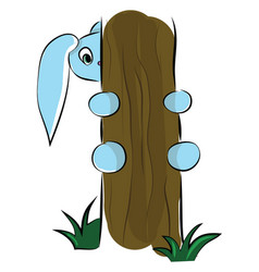 a cute blue cartoon hare trying to climb up the vector image