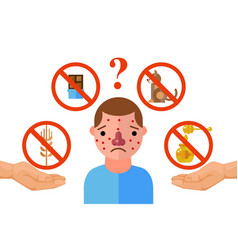 allergy triggers unhappy man suffering from vector image