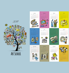 art school calendar 2019 design vector image