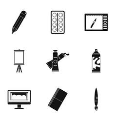 Art school icons set simple style vector