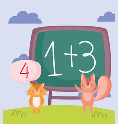 back to school cute fox and squirrel maths vector image
