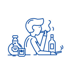 bad habits line icon concept bad habits flat vector image
