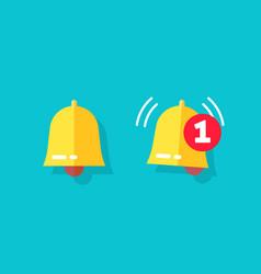 Bell icon or doorbell flat cartoon alarm symbol vector