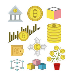 Bitcoin colorful icons of investment and economic vector