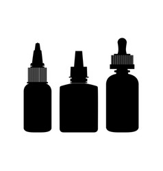 Black isolated vape bottles silhouettes set with vector