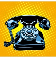 Black retro phone vector image