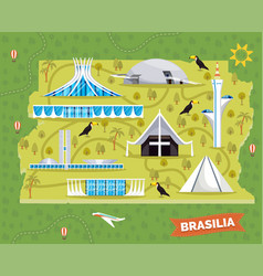 Brazil map with sightseeing places and landmarks vector