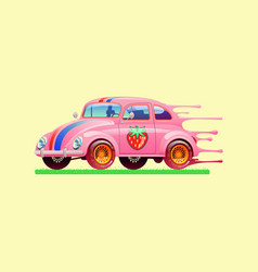 bubble gum car vector image