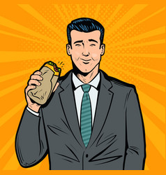 Businessman eating delicious sandwich lunch break vector