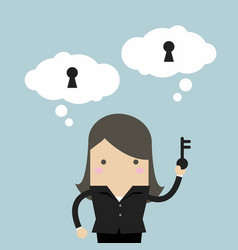 Businesswoman holding key for unlock the idea vector