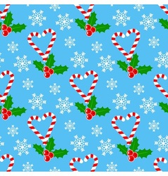 Candy cane and mistletoe vector image