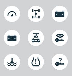 Car icons set with chassis signal alert and vector
