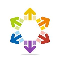 Circle arrow star hexagon design vector