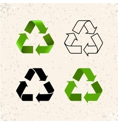 Circular arrows recycle icons isolated on vector image