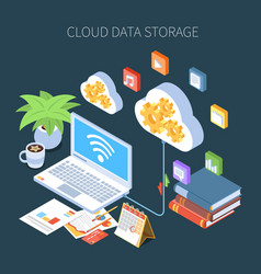 cloud data storage isometric composition vector image