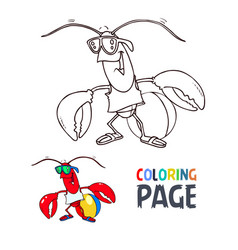 crab cartoon coloring page vector image