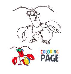 crab cartoon coloring page vector image