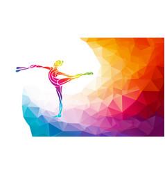 creative silhouette of gymnastic girl art vector image
