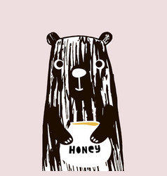 cute bear with honey hand drawn with vector image