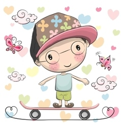 Cute Boy wiht a cap on a skateboard vector
