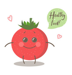 cute happy smiling tomato with words healthy food vector image