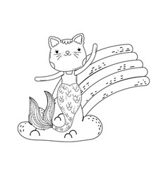 cute purrmaid with clouds and rainbow vector image