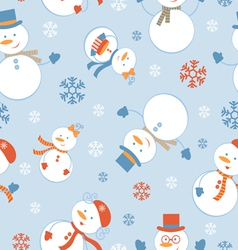 Cute snowmen pattern vector image