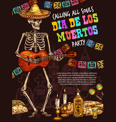 Day dead skull playing guitar mexican holiday vector