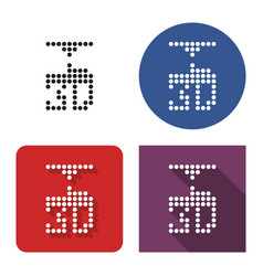 Dotted icon 3d printer in four variants vector